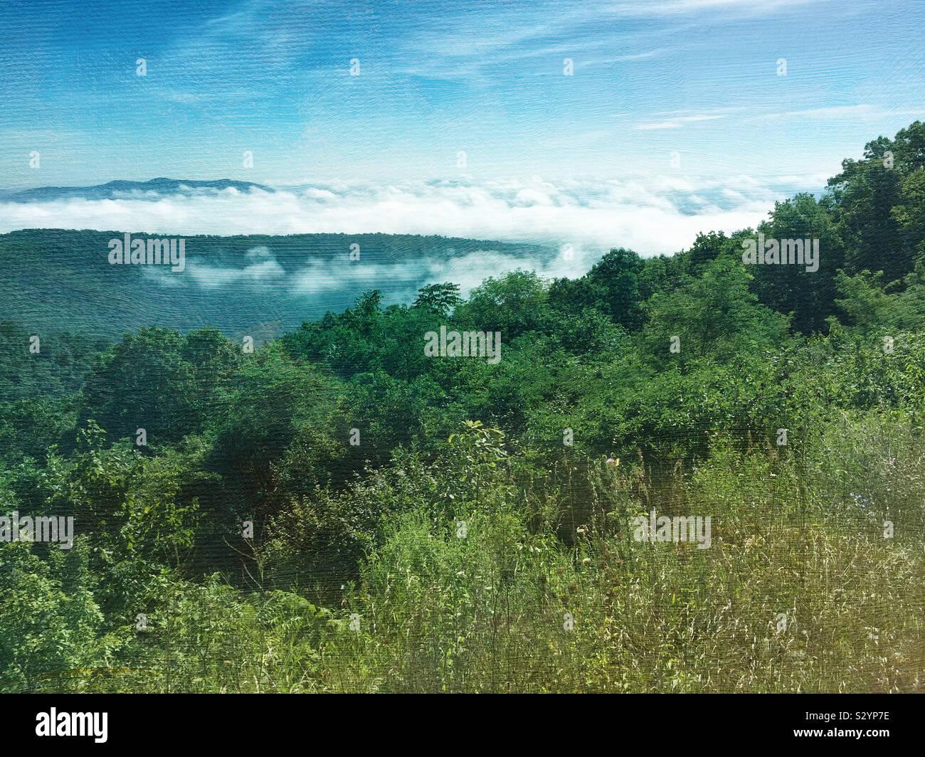 Durante la stagione estiva il paesaggio veduta panoramica della Appalachian Range di montagna nel Parco Nazionale di Shenandoah Virginia STATI UNITI D'AMERICA. Questa immagine ha una texture pittorica di effetto. Foto Stock
