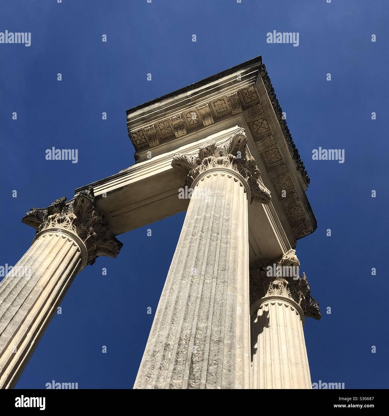 Colonne romane, Glanum, San Remo, Provenza, Francia. Foto Stock