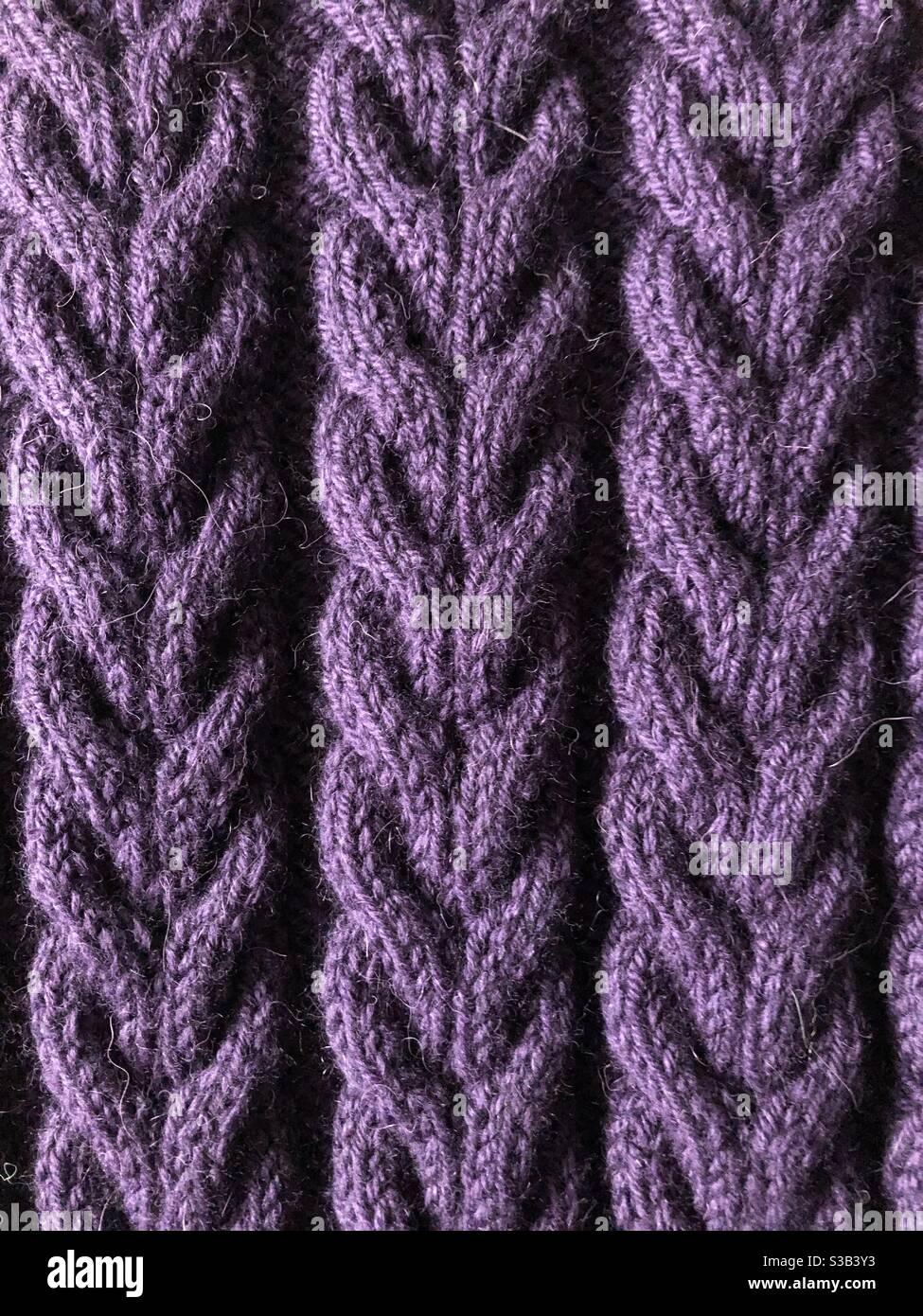 Lavorazione a maglia con blocco Foto Stock