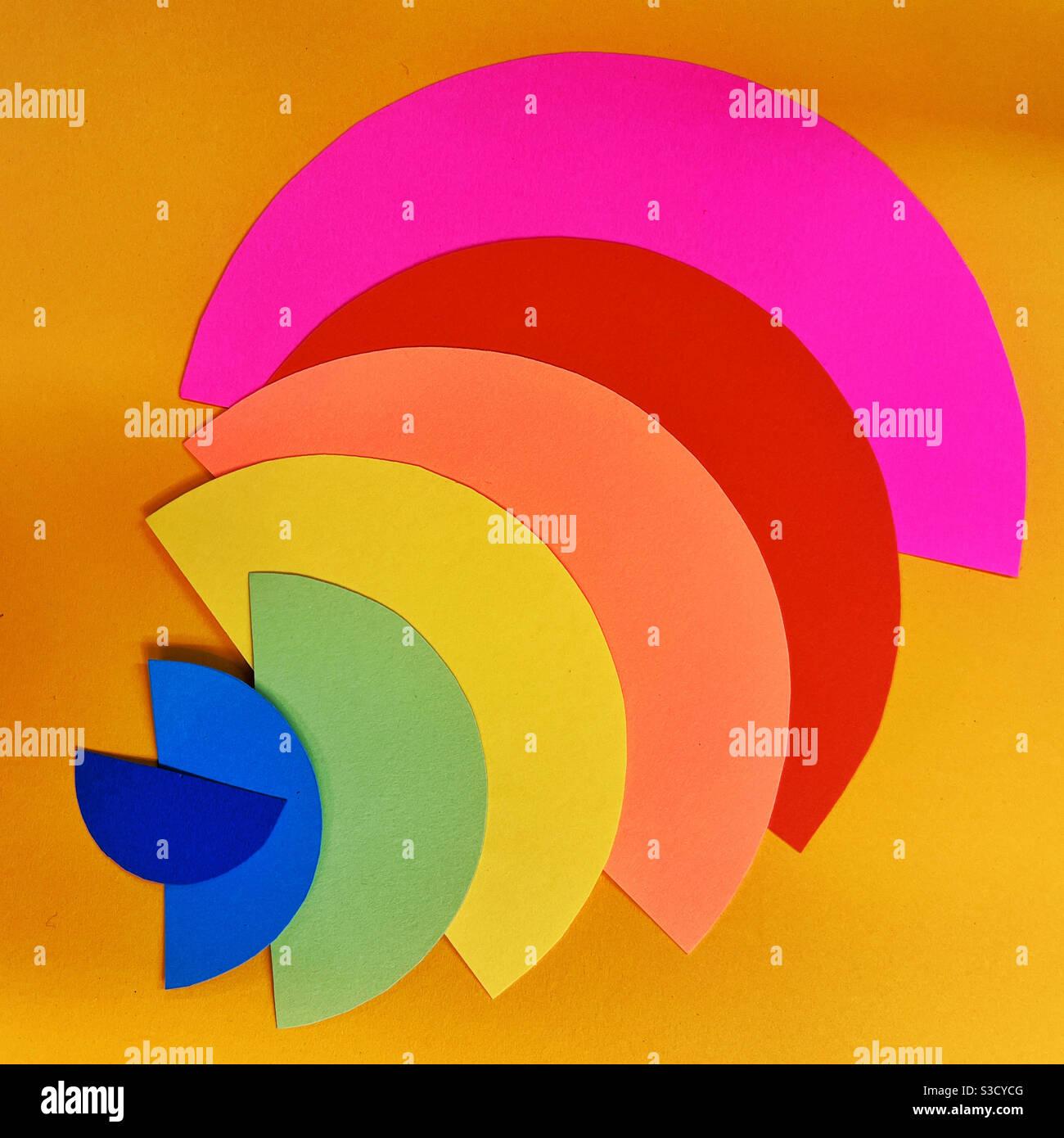 Collage di carta astratta in colori neon Foto Stock