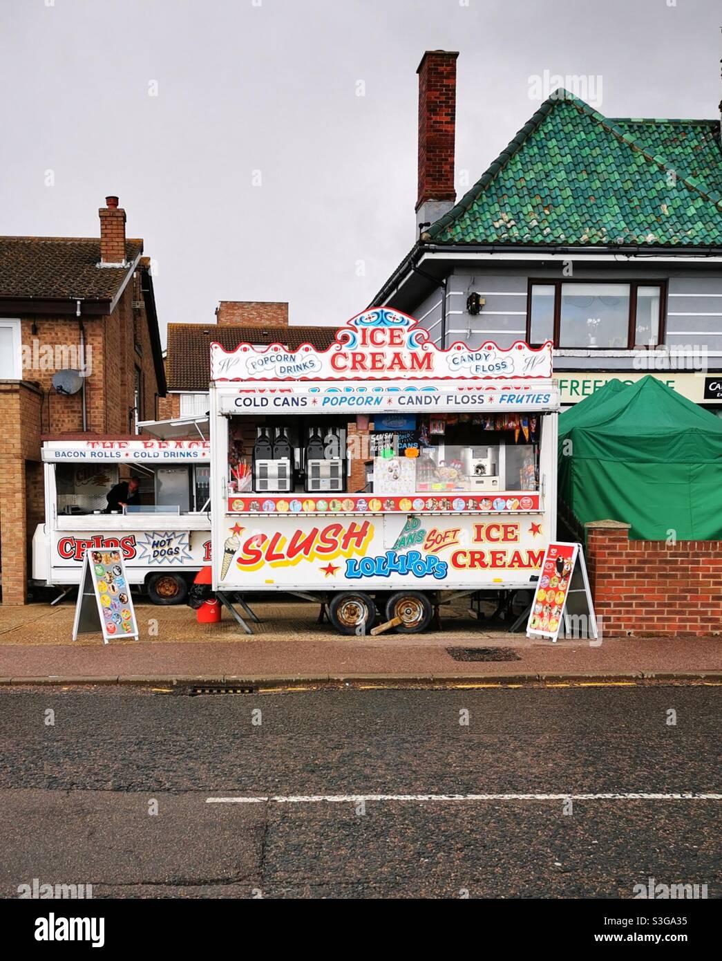 gelato van british sea side città Foto Stock