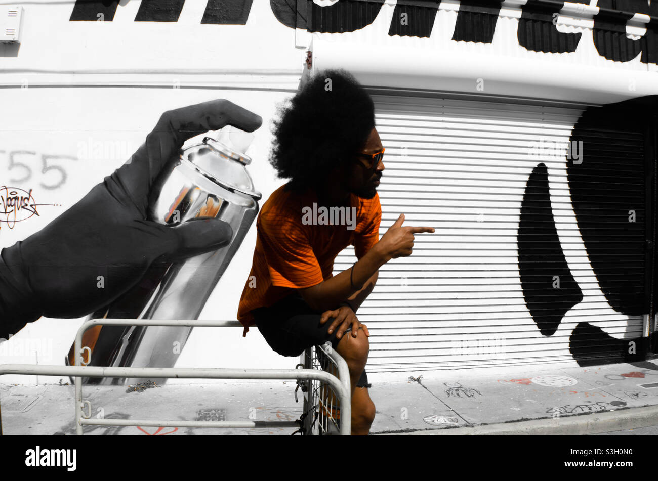 Graffiti hip hop artista Foto Stock