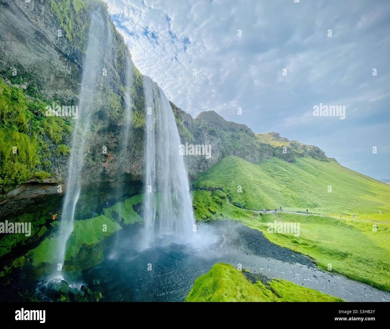 Seljalandsfoss nel sud dell'Islanda Foto Stock