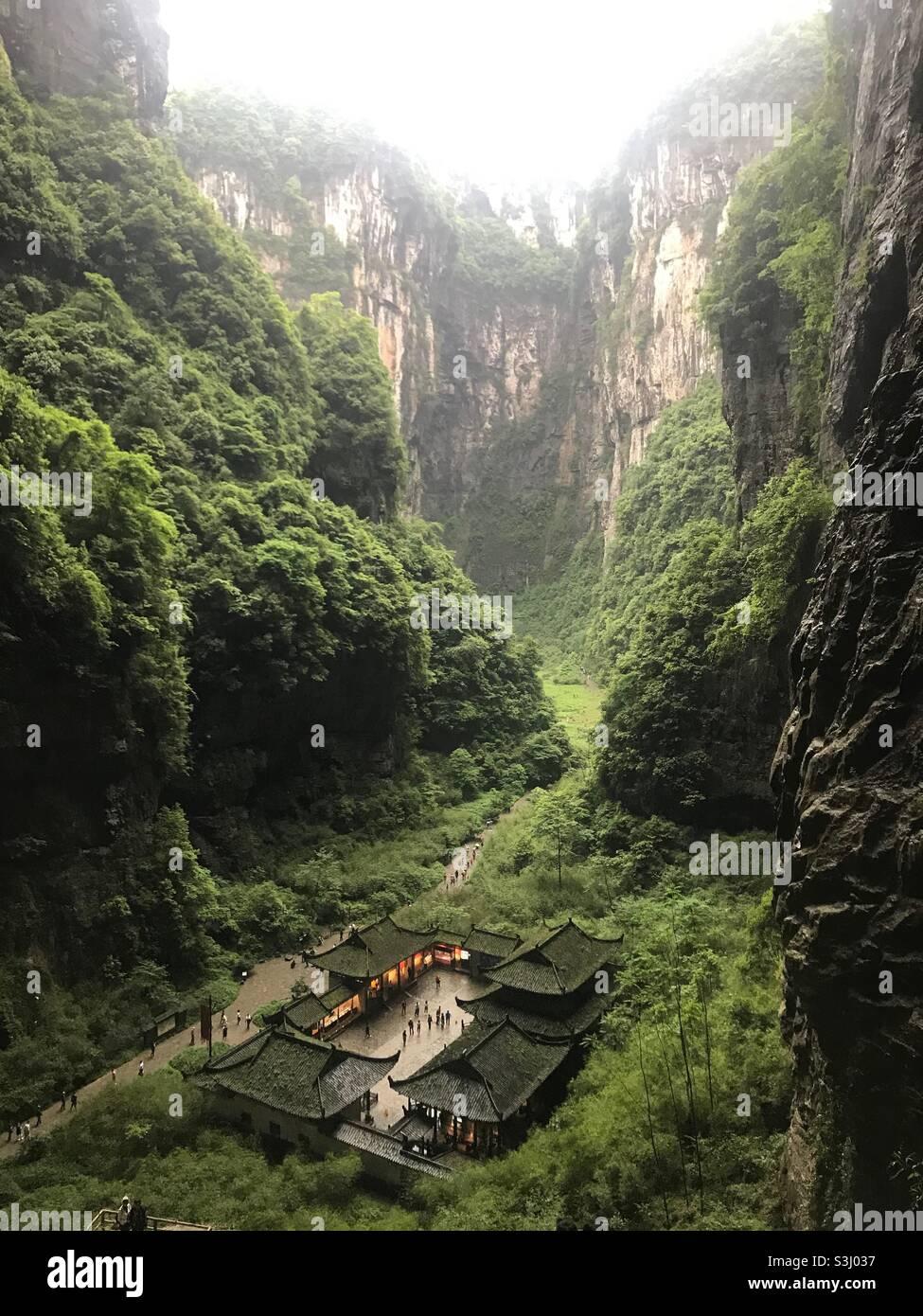 武隆天坑,重庆 Foto Stock