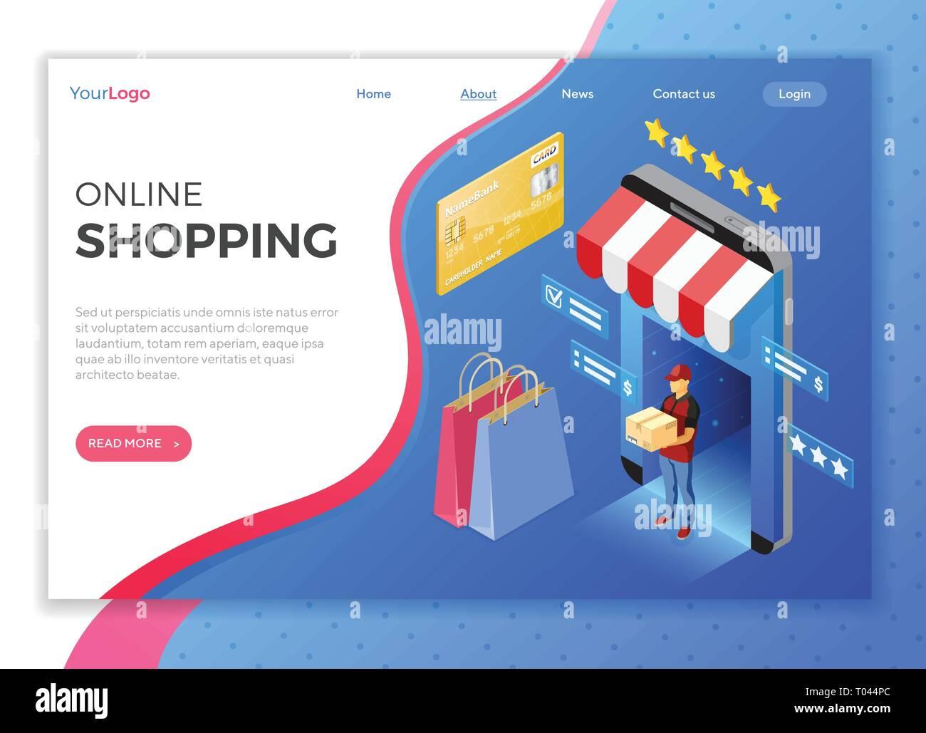 3132022533 Internet Online Shopping consegna concetto isometrica Illustrazione ...