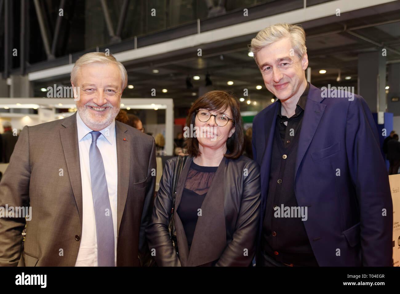 Parigi, Francia. 14 marzo, 2019. Vincent Montagne, presidente del Paris Book Fair e gli ospiti di Les Editions de la Martiniere all inaugurazione o Immagini Stock