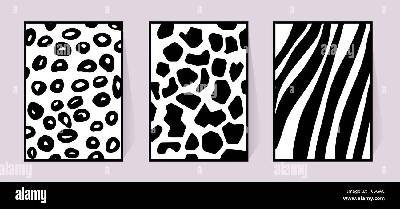 Texture Di Vettore Di Zebra Giraffe Leopard Bianco E Nero