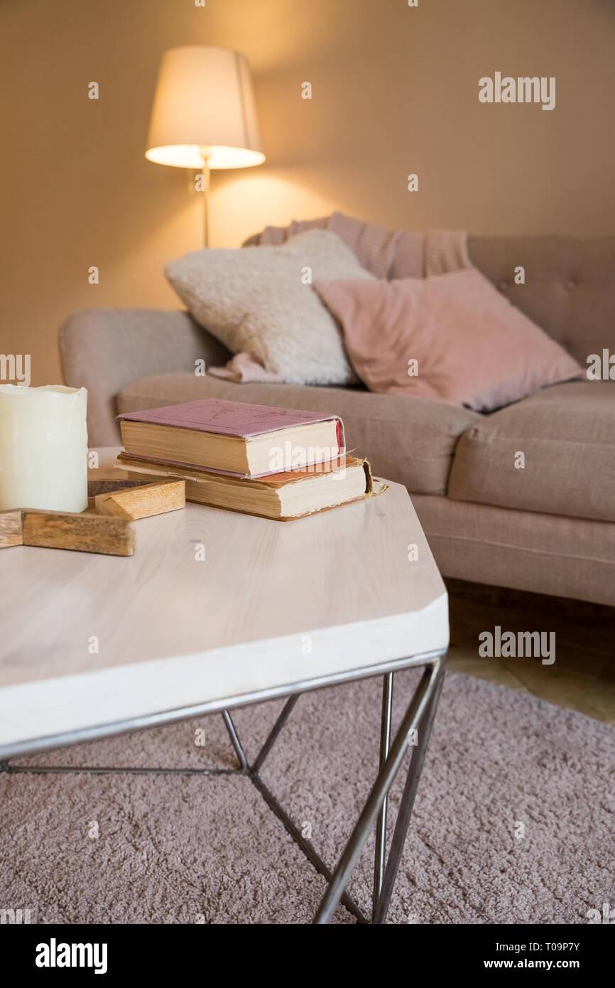 Cuscini Su Divano Marrone interni scandinavi. parete marrone in living accogliente