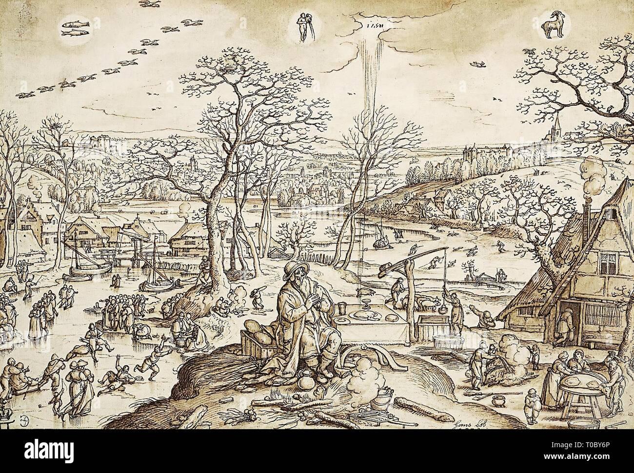 """""""L'Allegoria dell'inverno"""". I Paesi Bassi. I Paesi Bassi, 1579. Dimensioni: 20,6x30,6 cm. Museo: Membro Hermitage di San Pietroburgo. Autore: Hans BOL. Foto Stock"""