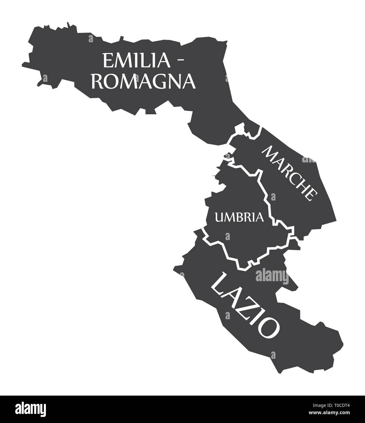 Cartina Politica Umbria E Marche.Emilia Romagna Marche Umbria Regione Lazio Mappa Italia Immagine E Vettoriale Alamy
