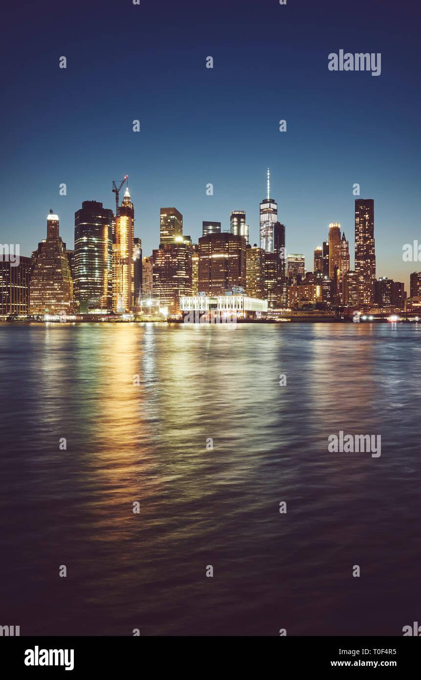 Manhattan a blue ora, dai toni di colore immagine, New York City ...
