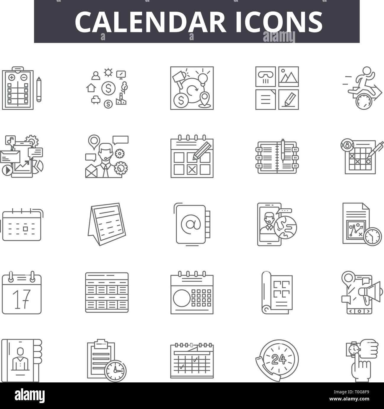 Calendario Segni.Linea Di Calendario Le Icone Per Il Web E I Dispositivi