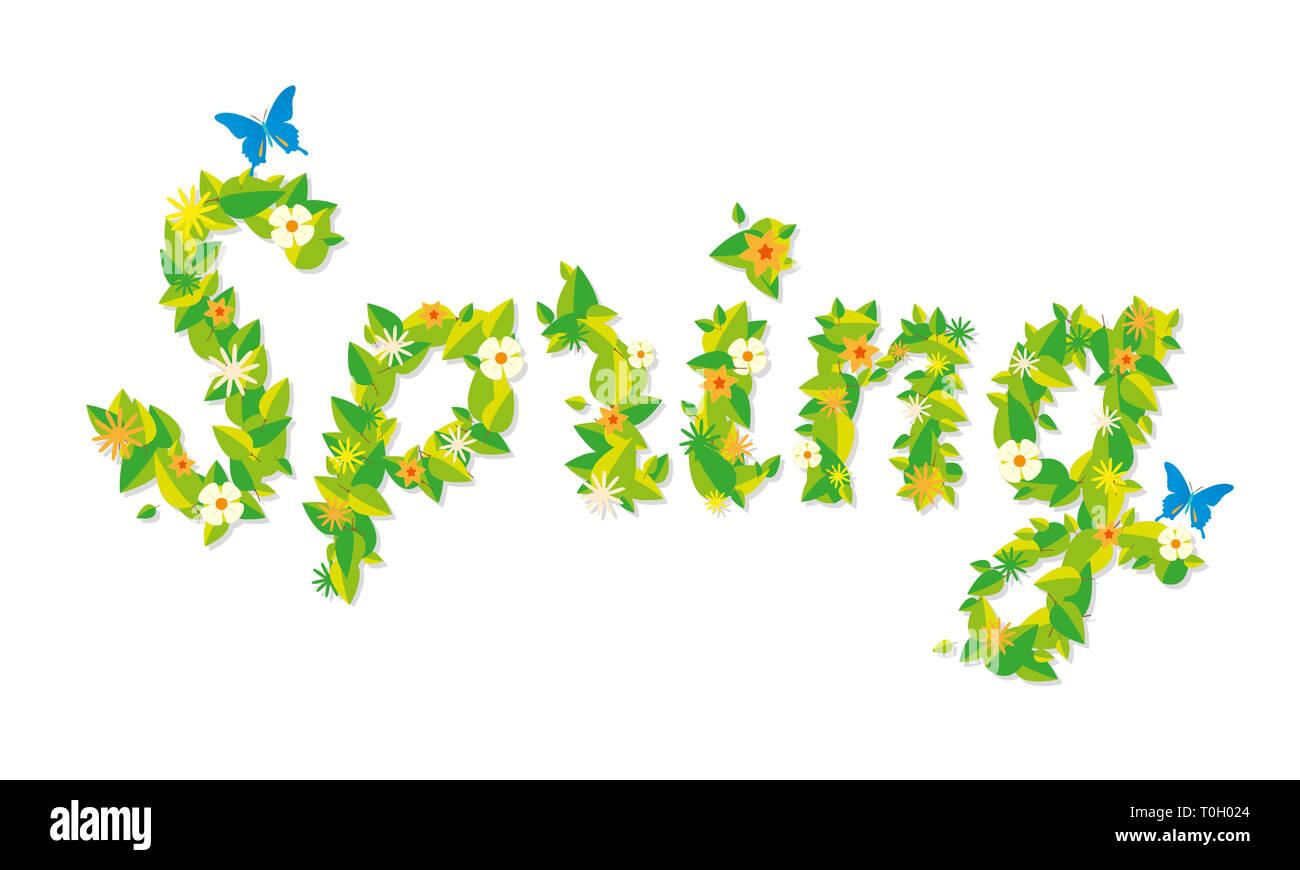 La molla in lettere floreali Immagini Stock