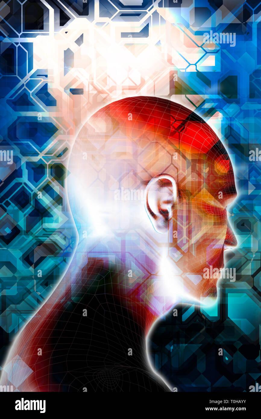 Maschio testa umanoide come concetto di intelligenza artificiale, le future generazioni di esseri umani, cyberlife e creata digitalmente personas Foto Stock