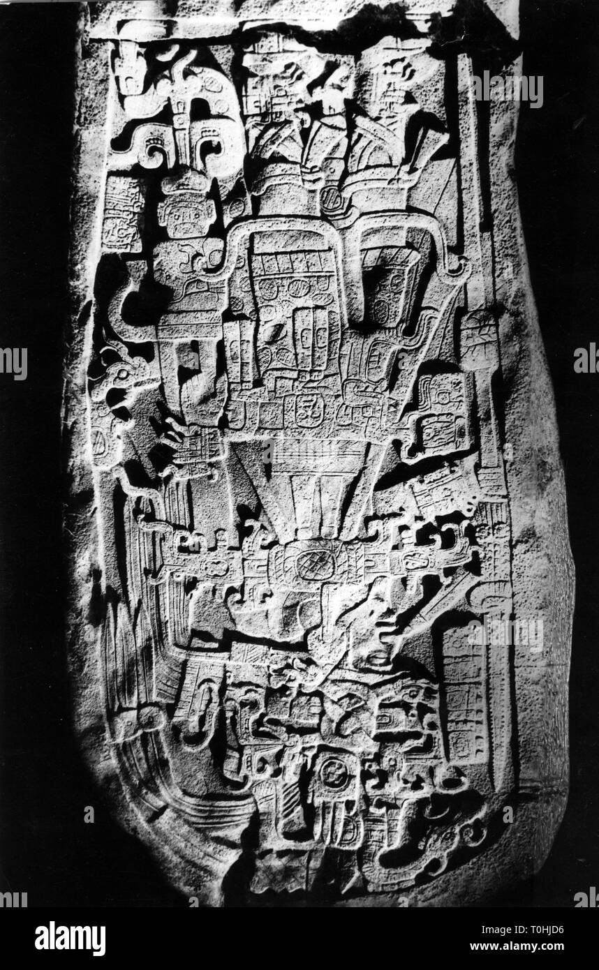 Geografia / viaggi, Guatemala, archeaology, stele Maya, sessanta, Additional-Rights-Clearance-Info-Not-Available Immagini Stock
