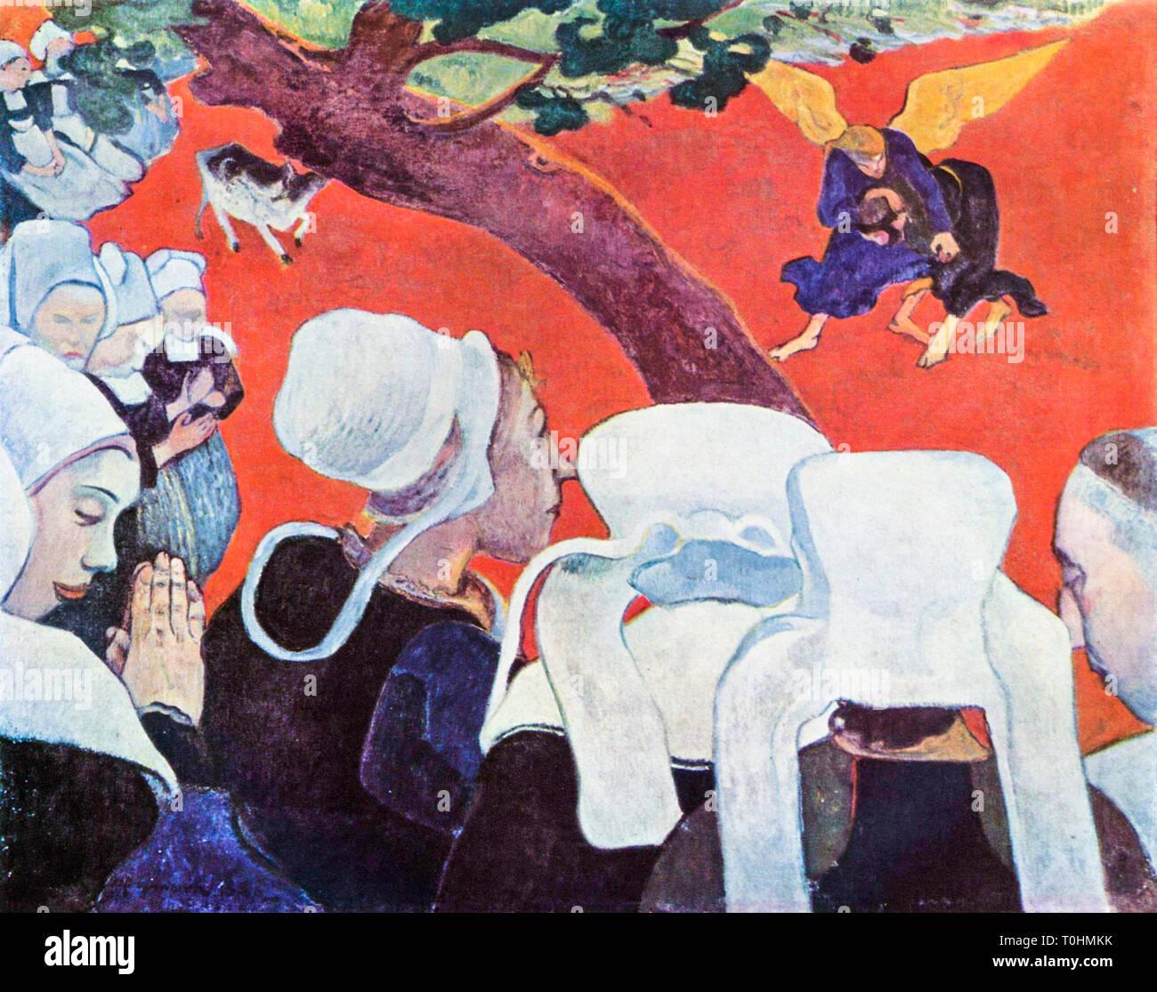 Paul Gauguin, la visione dopo il sermone (Giacobbe lotta con l'angelo), pittura, 1888 Immagini Stock