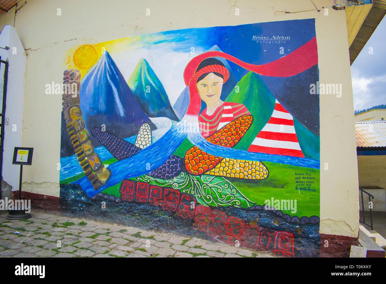 Murale, del primer festival de libre expresion por los jovenes de santa cruz cajola xella mujer del maiz Immagini Stock