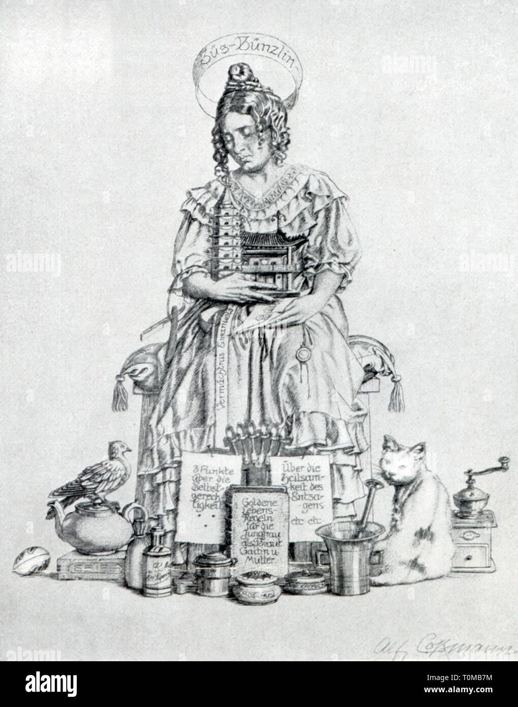 "Letteratura, illustrazioni, 'Jungfer Züs-Bünzlin', di attacco da Alfred Cossmann (1870 - 1951), fuori: Gottfried Keller (1857 - 1890), 'Die drei gerechten Kammacher"", Vienna, 1915, Additional-Rights-Clearance-Info-Not-Available Immagini Stock"