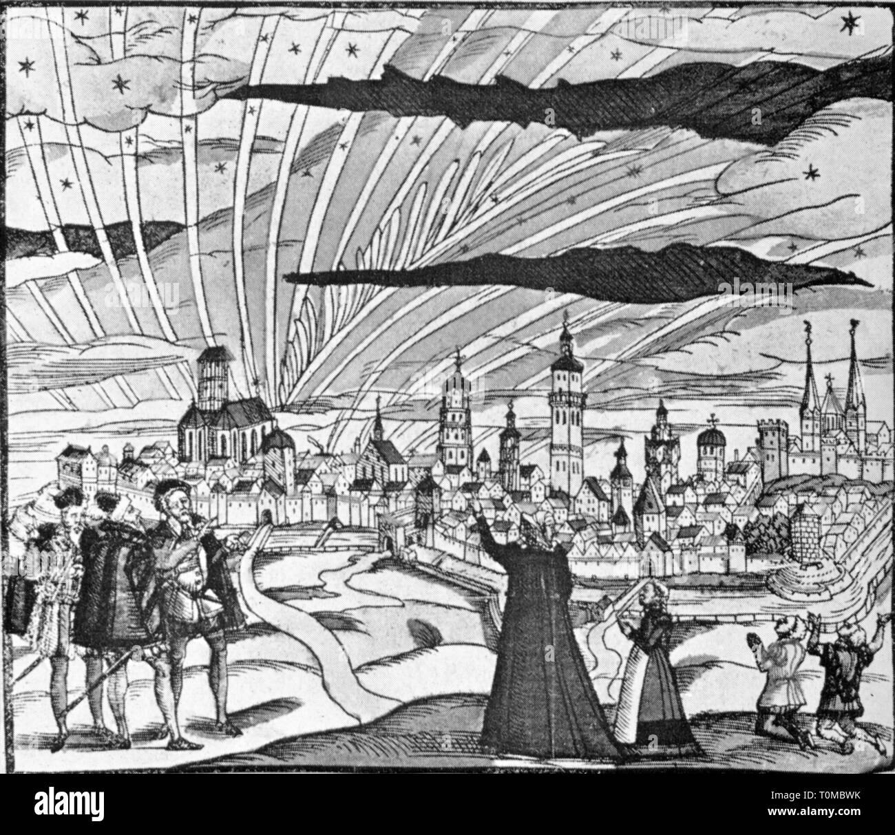 Astronomia, fenomeno luminoso al di sopra della città imperiale di Augsburg, 10.9.1580, Additional-Rights-Clearance-Info-Not-Available Immagini Stock