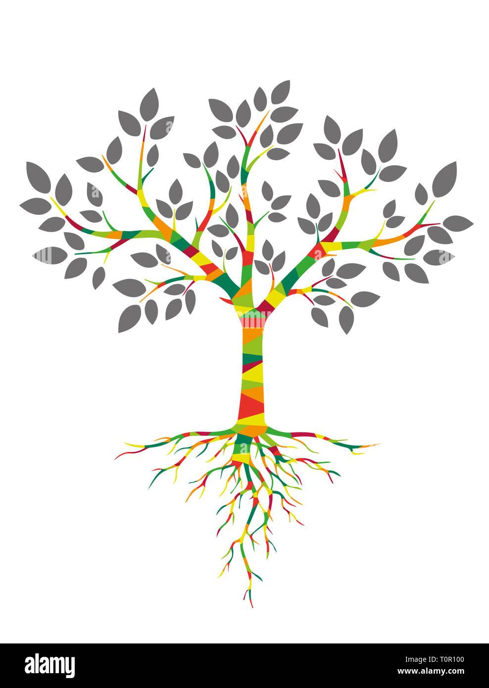 Albero colorato con radici Immagini Stock