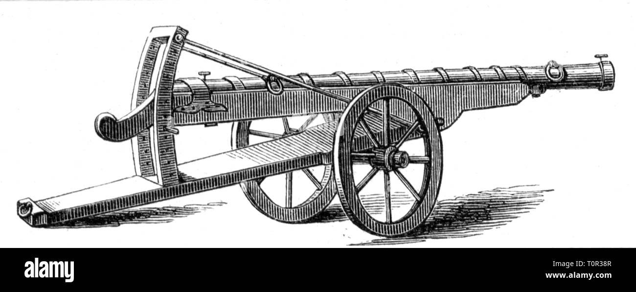 Militari, artiglieria, pistola, Burgundian serpentina nel periodo del duca Carlo del grassetto, circa 1470, Additional-Rights-Clearance-Info-Not-Available Immagini Stock