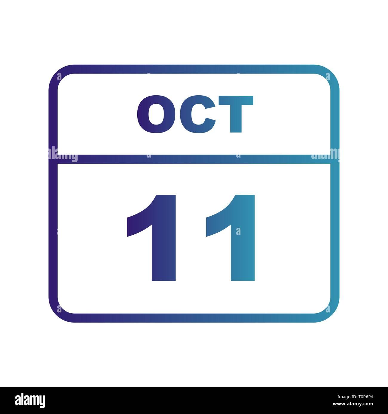 Calendario Giorno.Il 11 Ottobre Data In Un Unico Giorno Calendario Foto