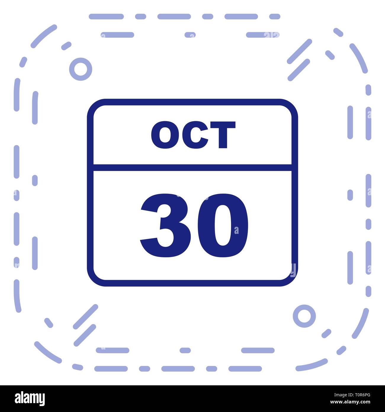 Calendario Giorno.30 Ottobre Data In Un Unico Giorno Calendario Foto