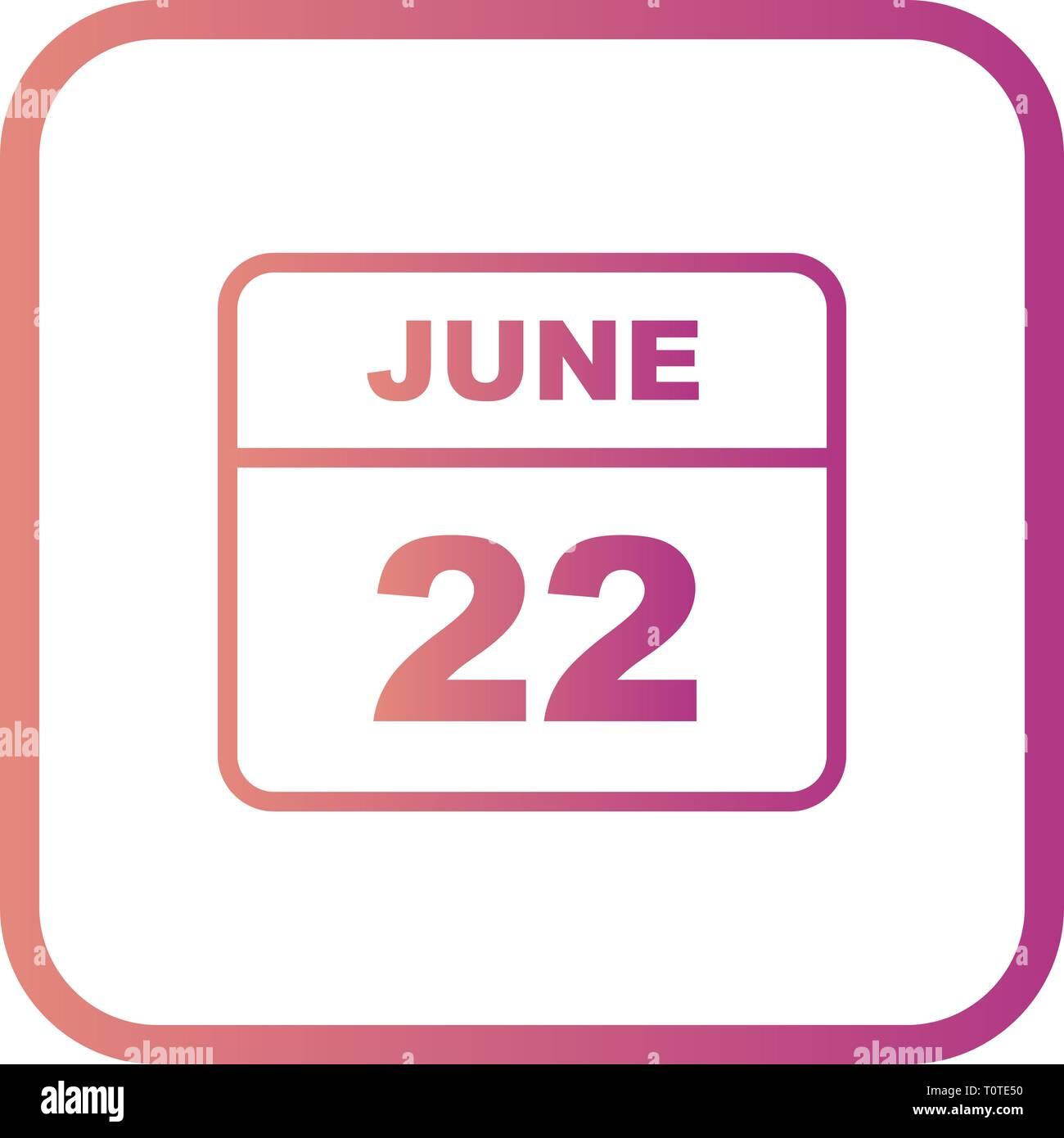 Calendario Giorno.22 Giugno Data In Un Unico Giorno Calendario Foto Immagine