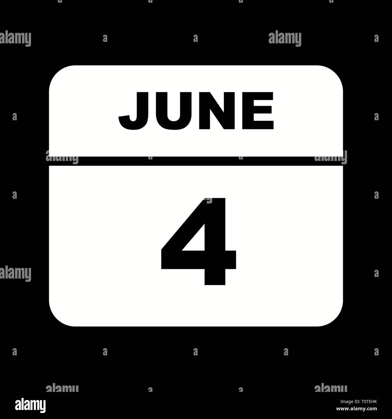 Calendario Giorno.4 Giugno Data In Un Unico Giorno Calendario Foto Immagine