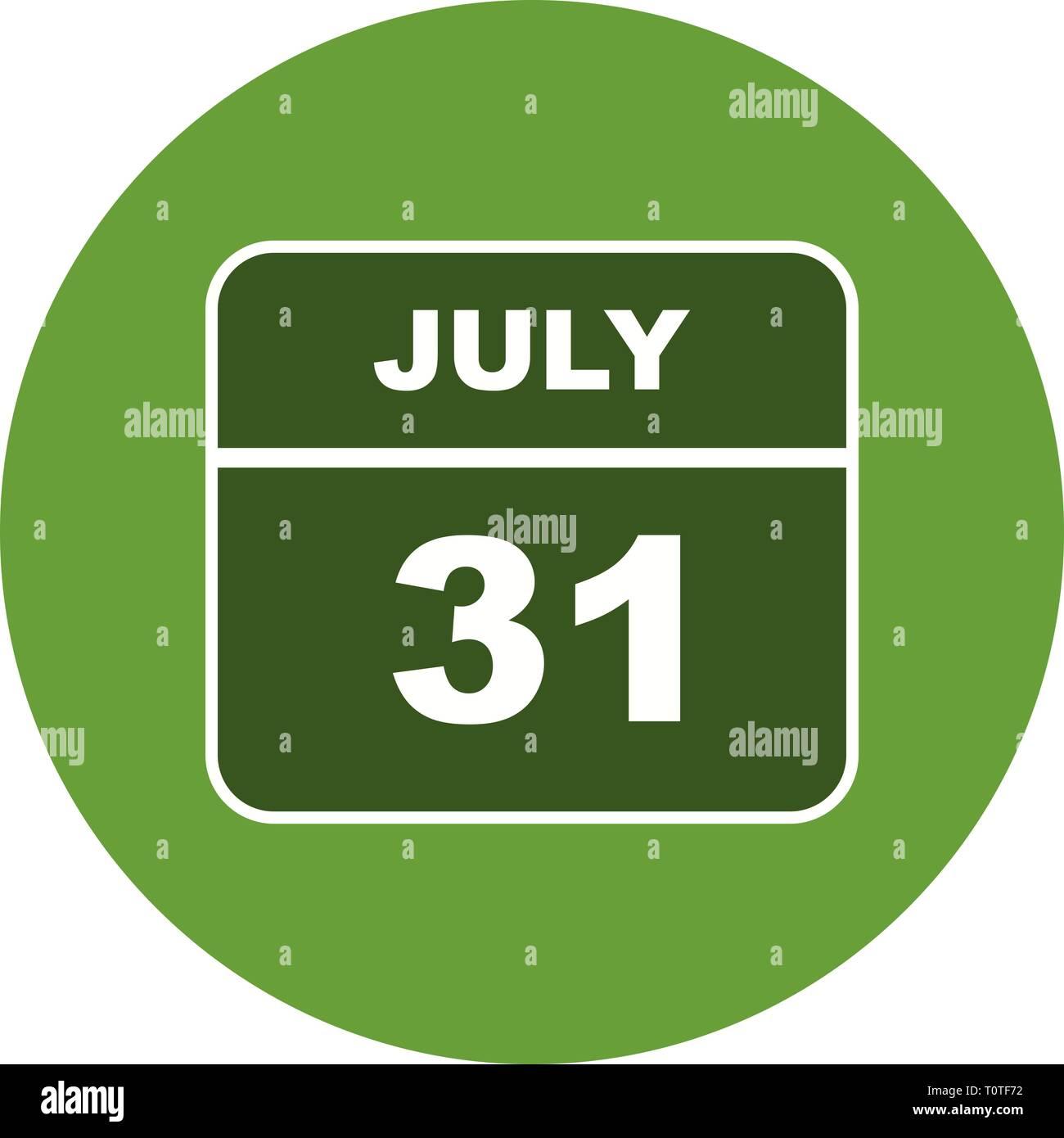 Calendario 31 Luglio.Il 31 Luglio Data In Un Unico Giorno Calendario Foto