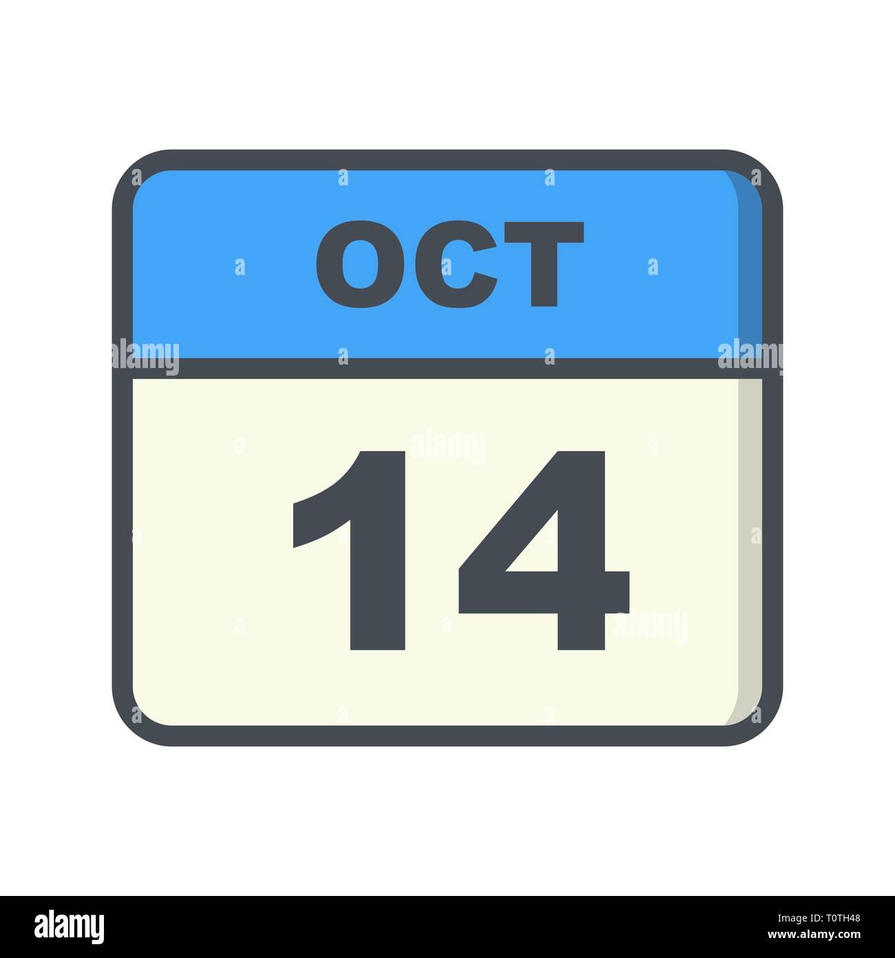 Calendario Giorno.Ottobre Xiv Data Su Un Singolo Giorno Calendario Foto