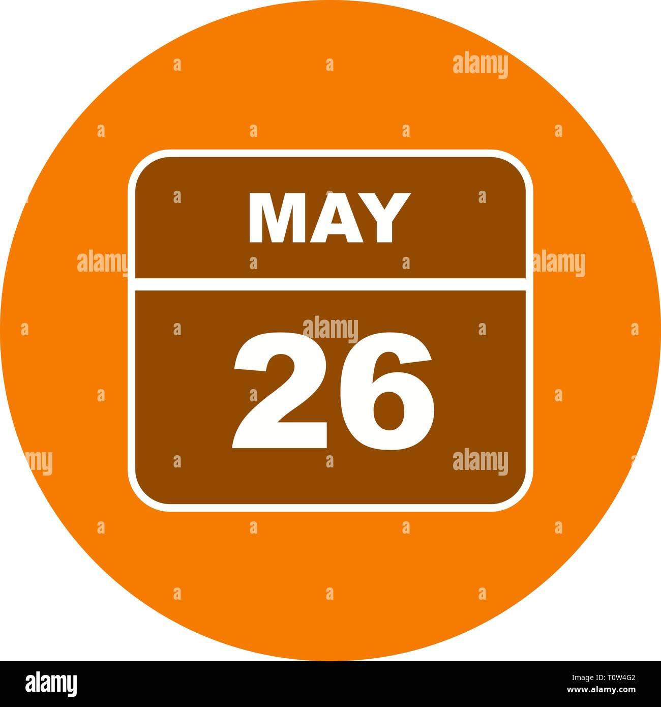Calendario Giorno.26 Maggio Data In Un Unico Giorno Calendario Foto Immagine