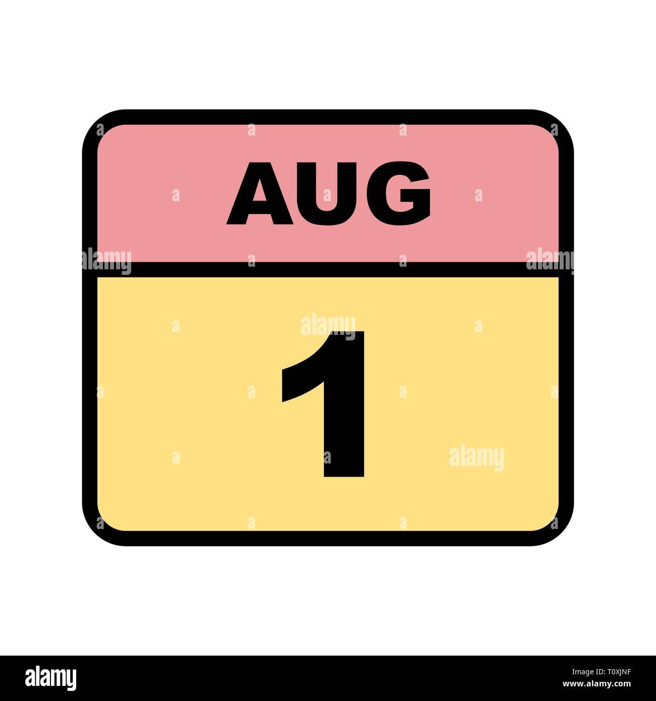 Calendario Giorno.Il 1 Agosto E Data In Un Unico Giorno Calendario Foto