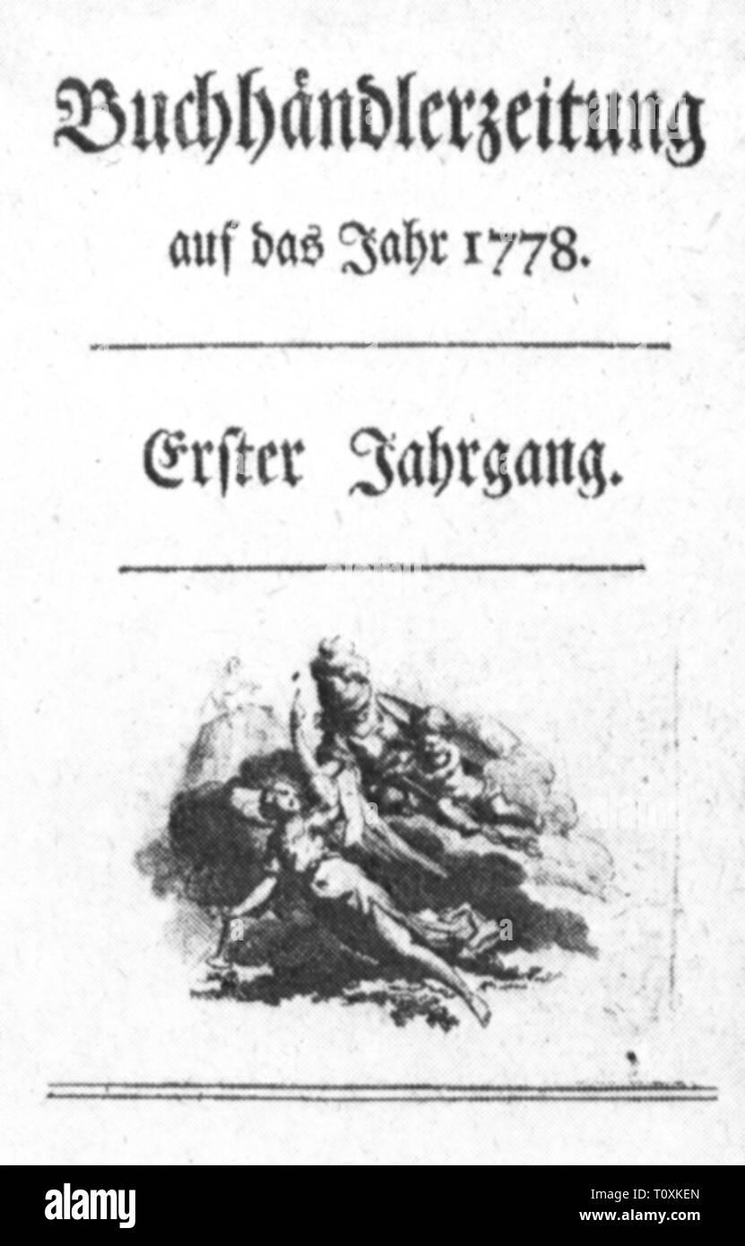 Premere il tasto / media, riviste, 'Buchhaendlerzeitung' (libraio ufficiale), primo volume, Amburgo, 1778, Additional-Rights-Clearance-Info-Not-Available Immagini Stock