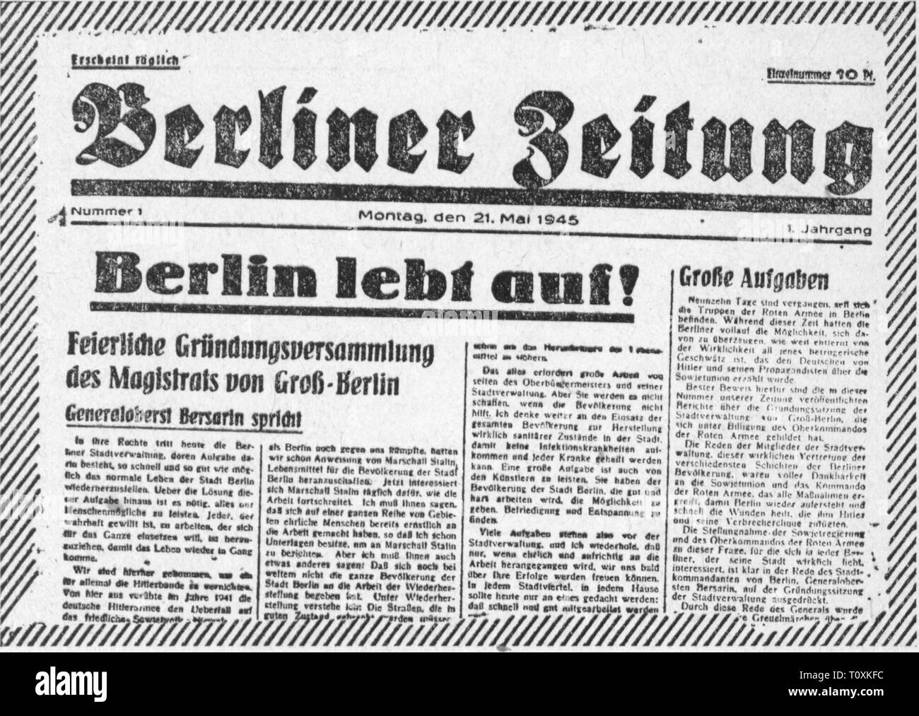 """Premere il tasto / media, riviste, """"Berliner Zeitung, front page, volume 1, numero 1, Additional-Rights-Clearance-Info-Not-Available Immagini Stock"""