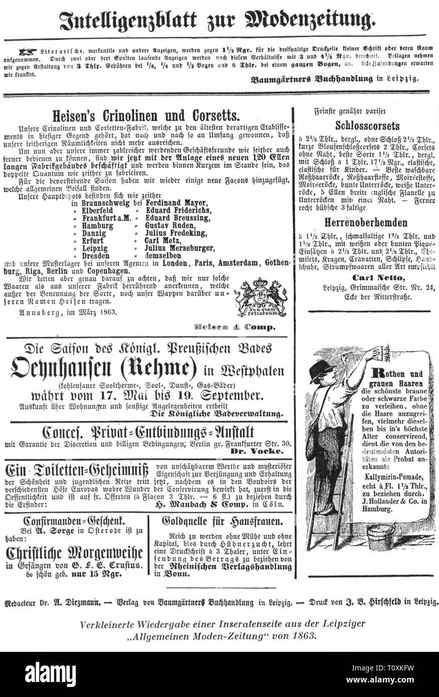 """Pubblicità, stampa / media, ad-pagina, da: """"Allgemeine Moden-Zeitung', Lipsia, 1863, artista del diritto d'autore non deve essere cancellata Immagini Stock"""
