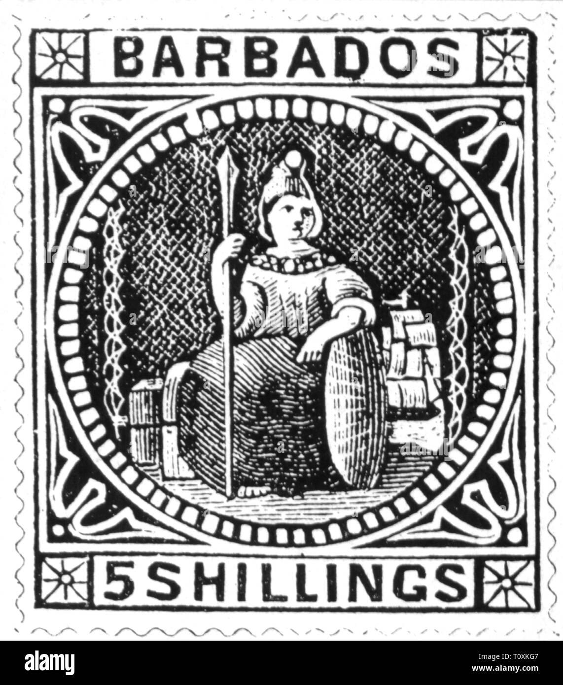 Mail, francobolli, Barbados, 5 scellino francobollo, Britannia, 1873, Additional-Rights-Clearance-Info-Not-Available Immagini Stock