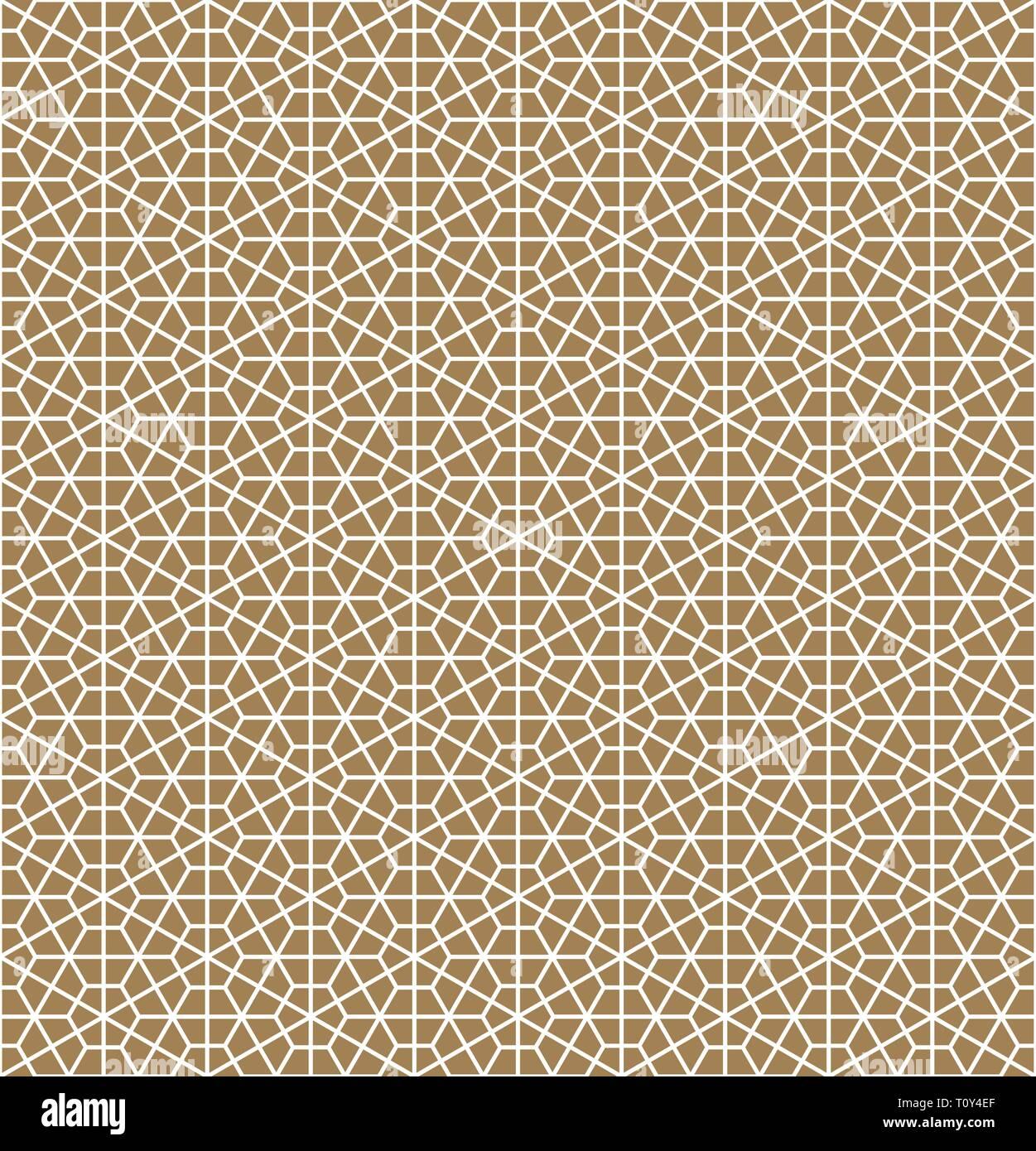 Modello senza soluzione di continuità sulla base di ornamento giapponese Kumiko.Gold colore di sfondo.bianco dello strato di configurazione. Immagini Stock