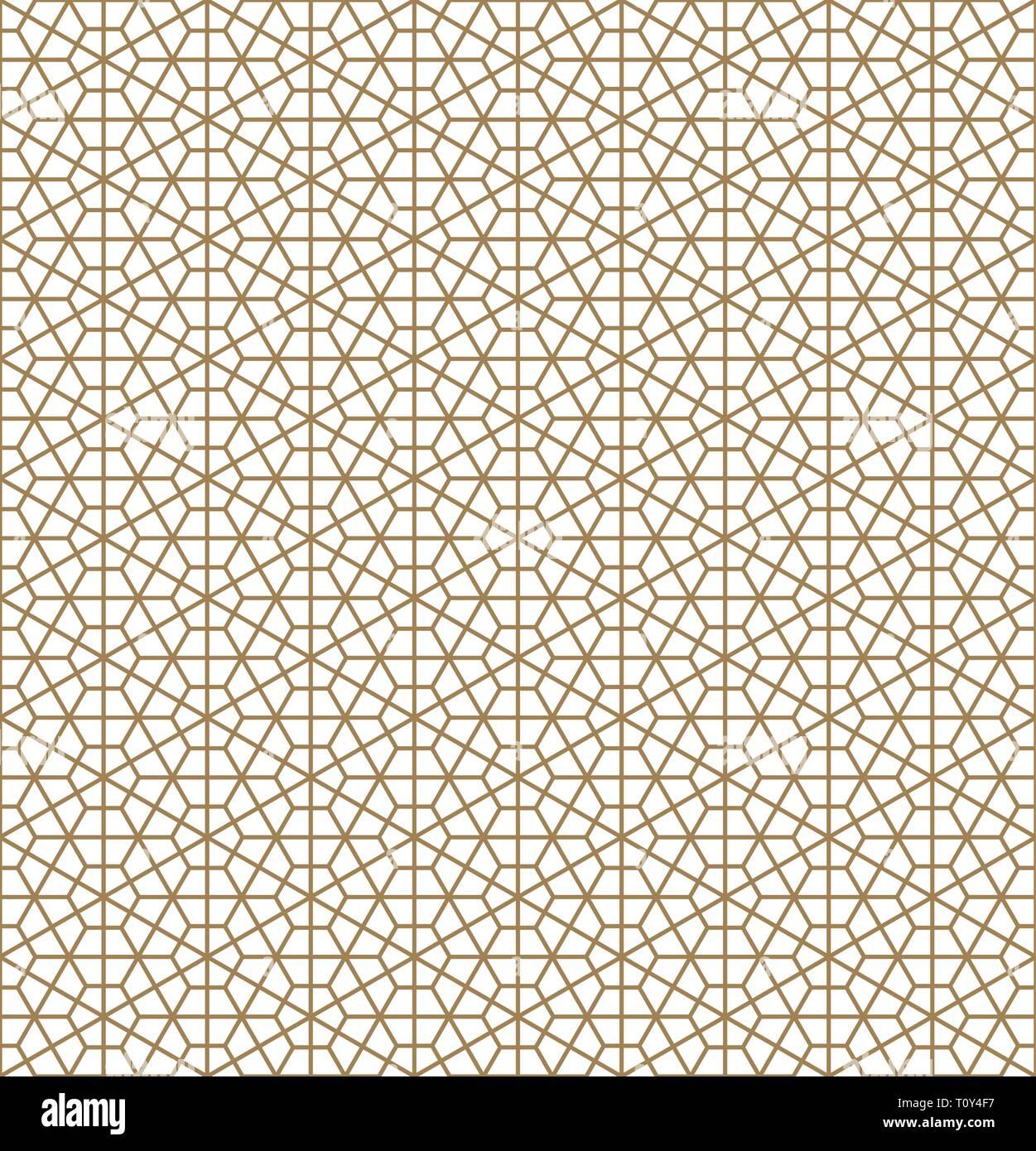 Modello senza soluzione di continuità sulla base di ornamento giapponese Kumiko.colore oro.medie linee di spessore Immagini Stock