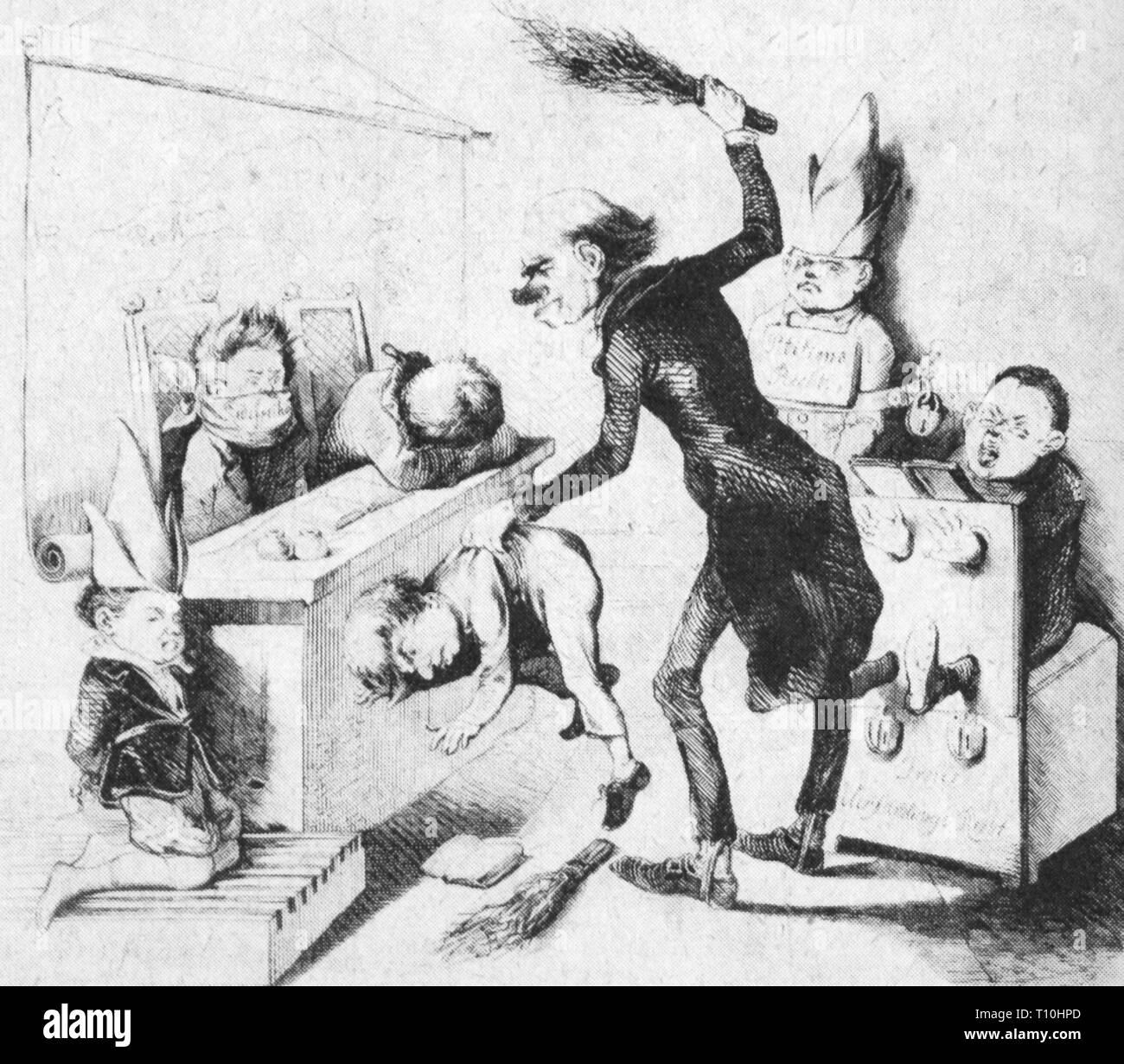 """Eventi, giri 1848 - 1849, Germania, 'Die unartigen Kinder"""" (bambini cattivi), disegno, 1849, artista del diritto d'autore non deve essere cancellata Immagini Stock"""