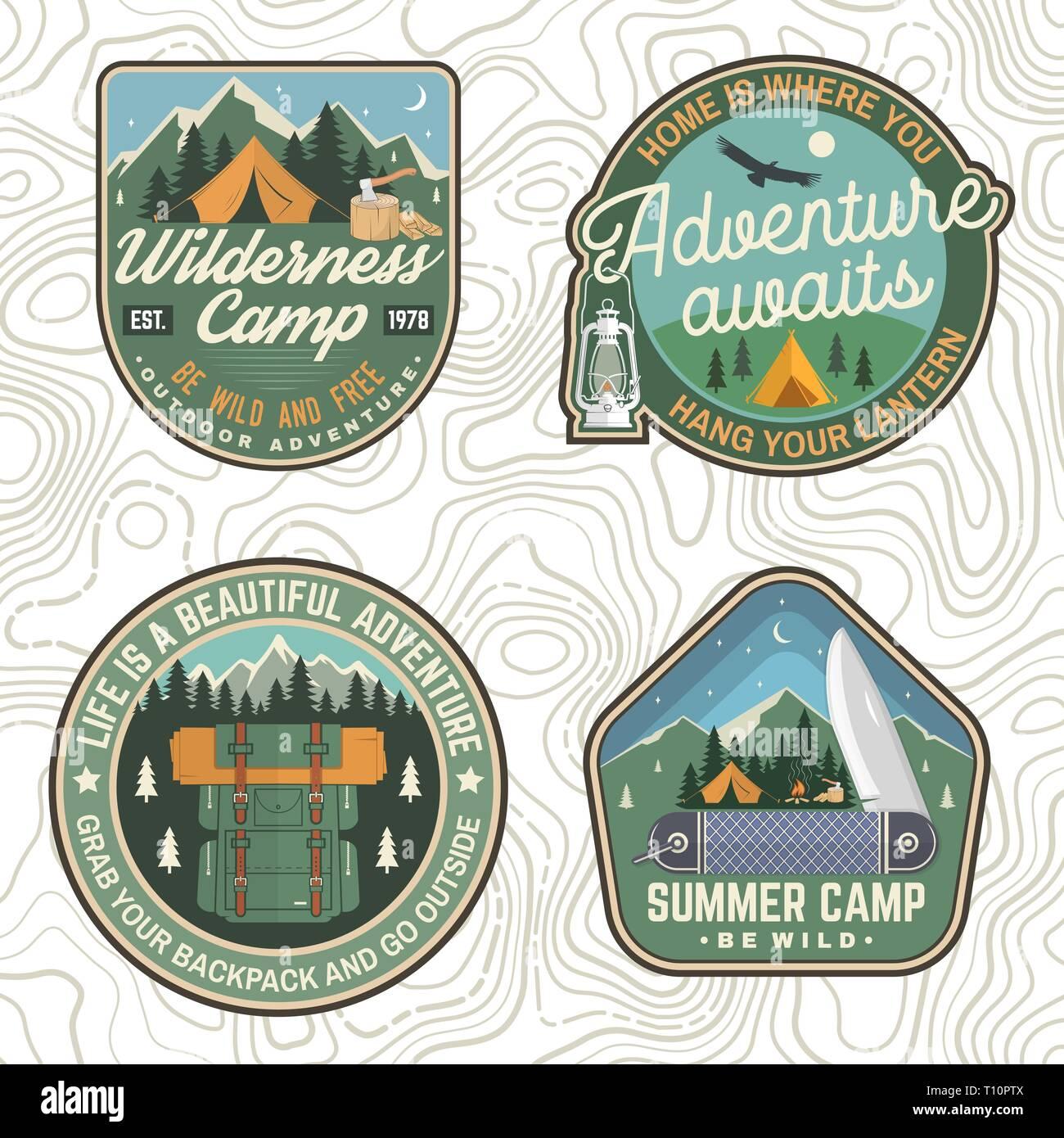 pick up a9d8e 8d9d6 Set di Summer Camp patch. Vettore. Concetto di camicia ...