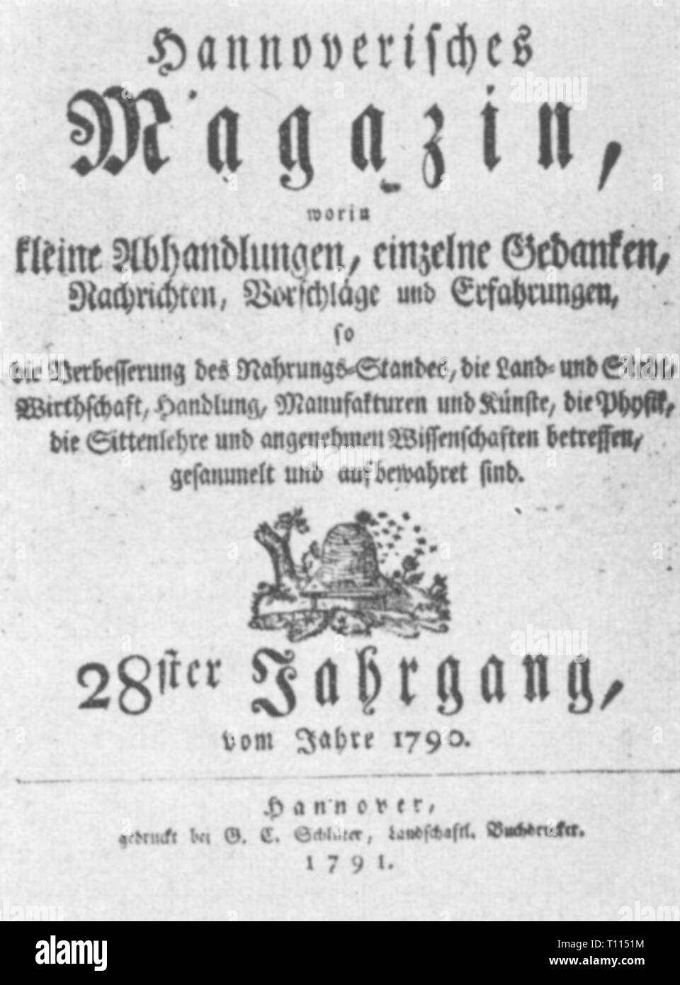 """Premere il tasto / media, riviste, 'Hannoverisches Magazin"""", volume 28, Hannover, 1791, Additional-Rights-Clearance-Info-Not-Available Immagini Stock"""
