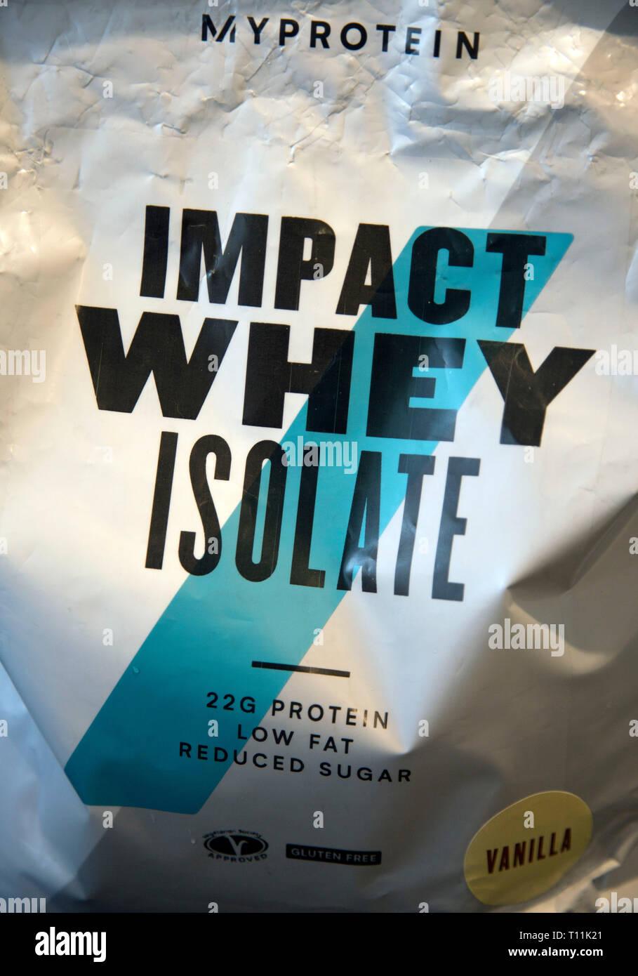 Il mio impatto proteina di siero di latte isolare supplemento sportivo Foto Stock