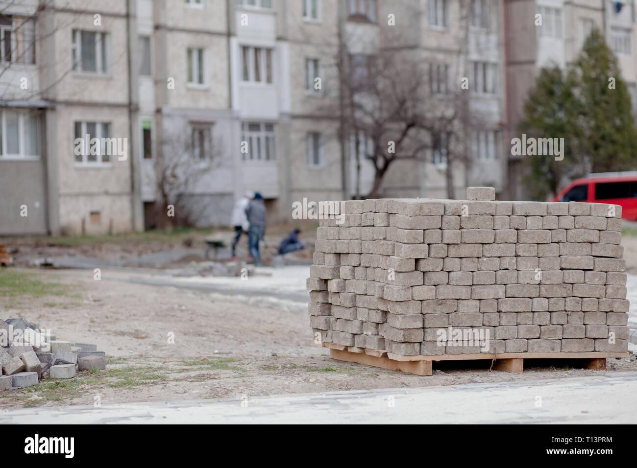 Piastrelle Di Cemento Colorato : Pavimentazione in pietra rossa piastrella di cemento per la posa in
