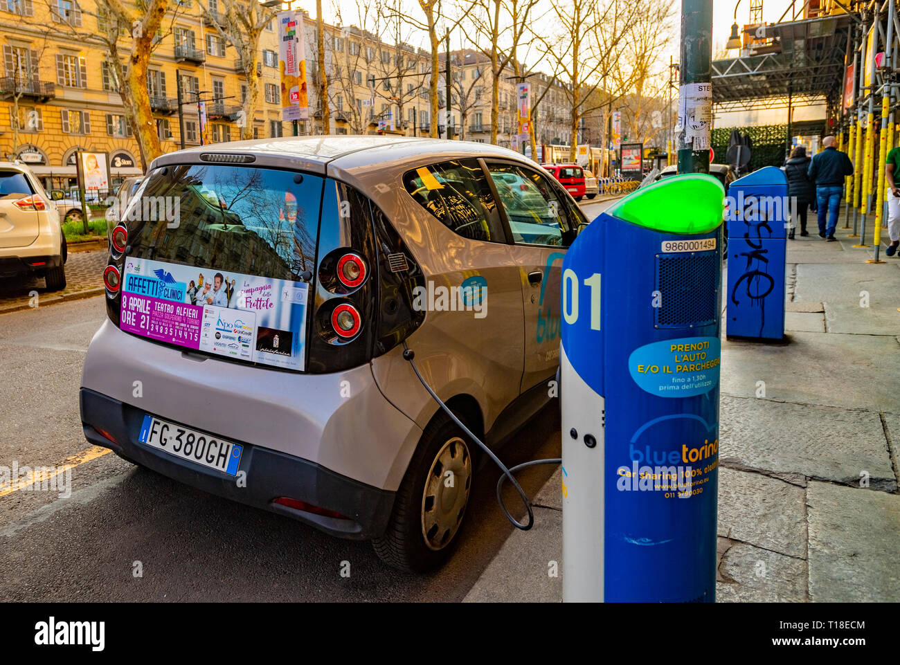 Italia Piemonte Torino auto elettrica Immagini Stock
