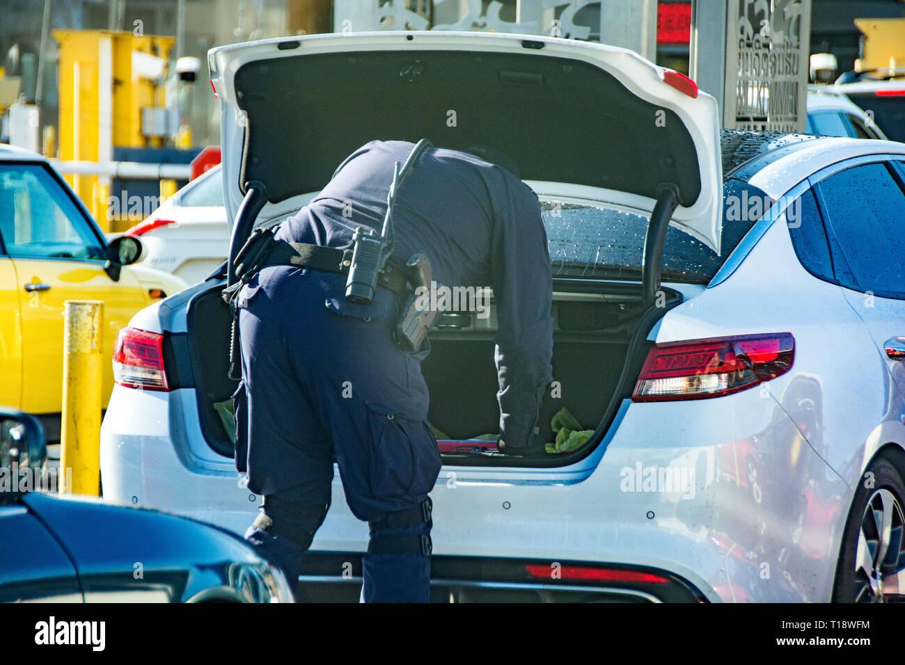 Una pattuglia di confine officer controllando il tronco di un automobile, attraversando il San Ysidro confine dal Messico agli Stati Uniti. Immagini Stock