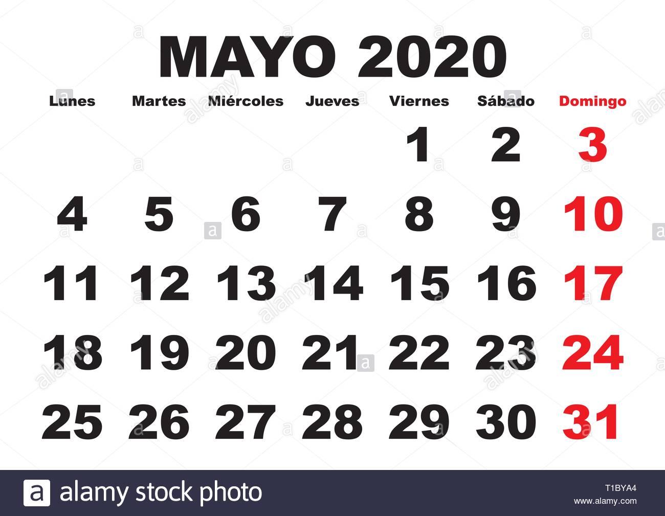 Calendario Di Maggio 2020.Mese Di Maggio In Un Anno 2020 Calendario Da Parete In