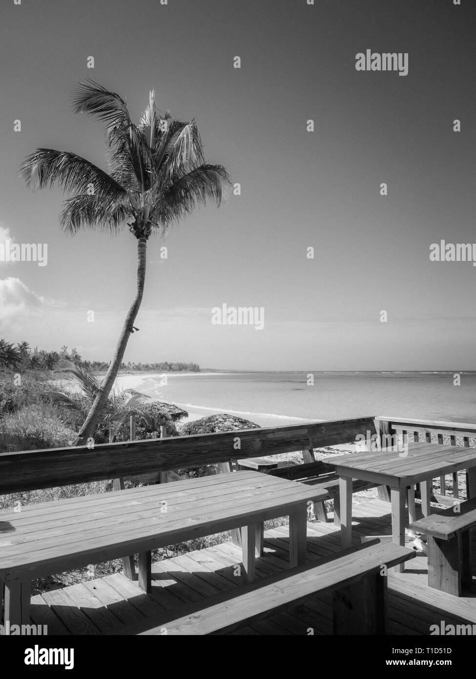 Bianco e Nero paesaggio del litorale, Tippy il Ristorante e bar sulla spiaggia, a nord di Palmetto Point, Eleuthera, Bahamas. Foto Stock