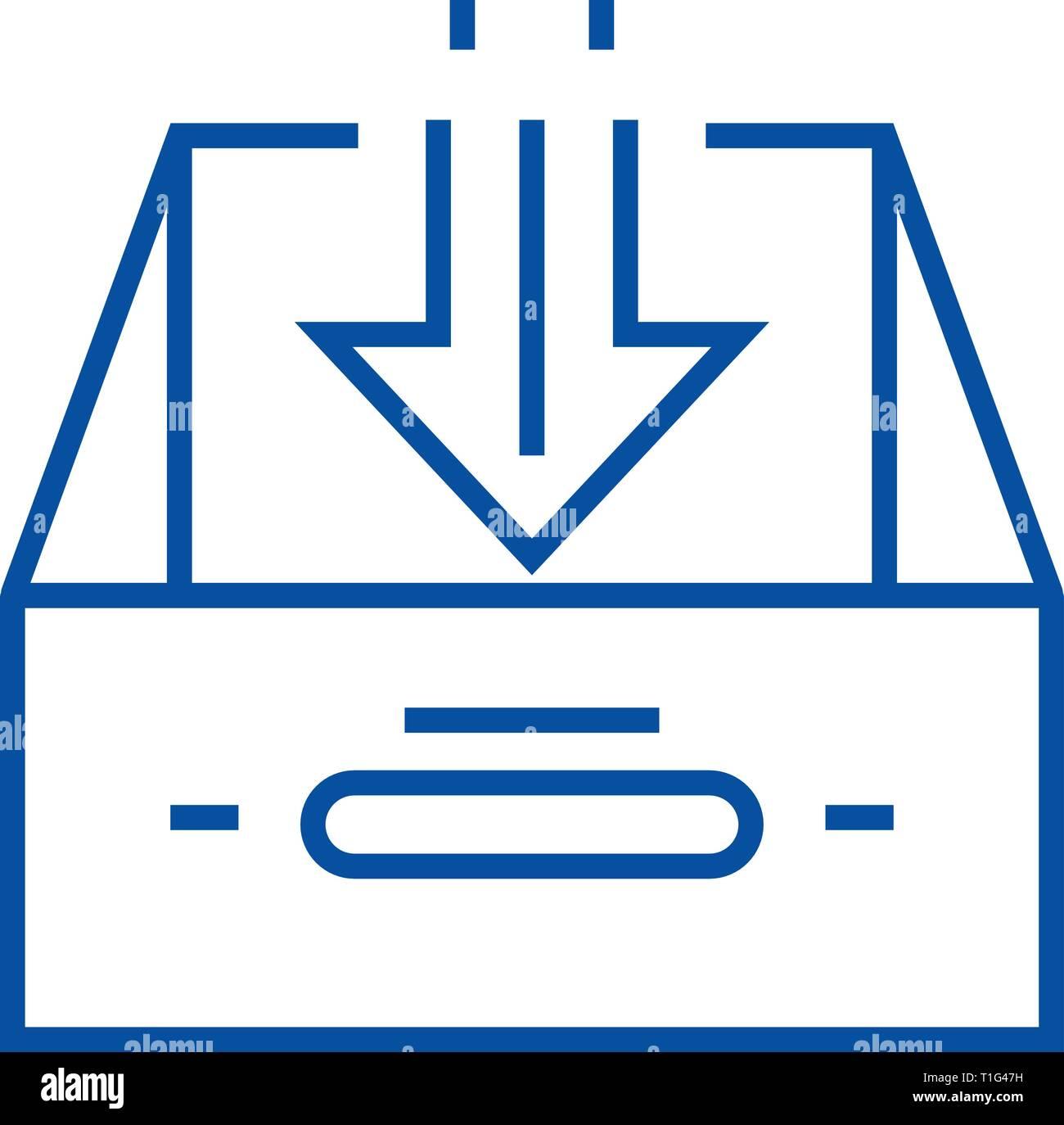 Posta in arrivo business line icona concetto. Posta in arrivo business piatto simbolo del vettore, segno, illustrazione di contorno. Immagini Stock
