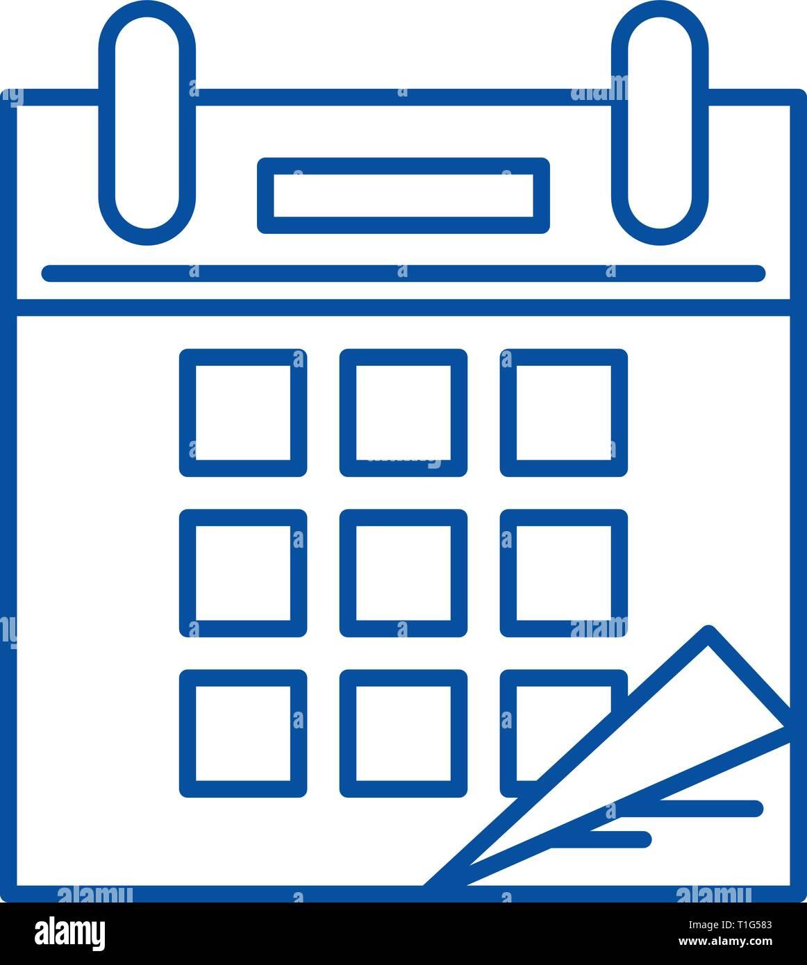 Simbolo De Calendario.Il Tempo Di Calendario Icona Linea Concept Calendario Tempo